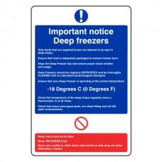 Important Notice Deep Freezers Sign
