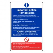 Important Notice Refrigerators Sign