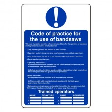 Code Of Practice For Bandsaws Sign