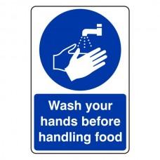Wash Hands Before Handling Food Sign