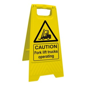 Caution Fork Lift Trucks Operating Floor Stand