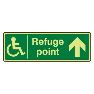 Photoluminescent Refuge Point Arrow Up Sign