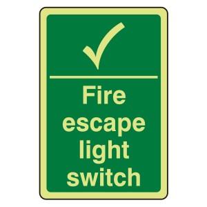Photoluminescent Fire Escape Light Switch Sign (Portrait)