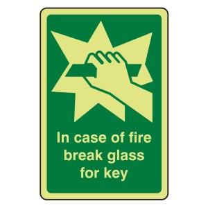 Photoluminescent In Case Of Fire Break Glass For Key Sign (Portrait)