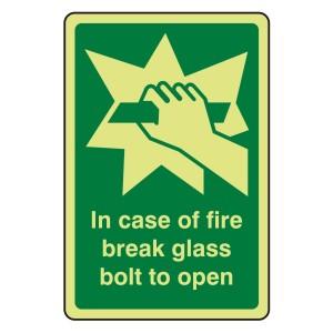 Photoluminescent In Case of Fire Break Glass Bolt To Open Sign (Portrait)