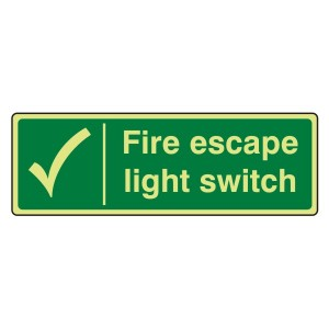 Photoluminescent Fire Escape Light Switch Sign (Landscape)