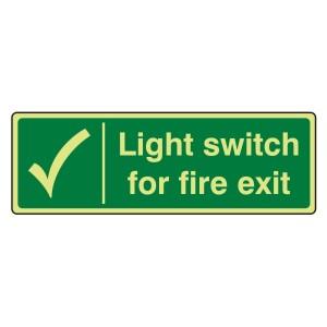 Photoluminescent Light Switch For Fire Escape Sign (Landscape)