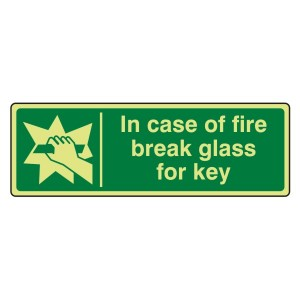 Photoluminescent In Case Of Fire Break Glass For Key Sign (Landscape)