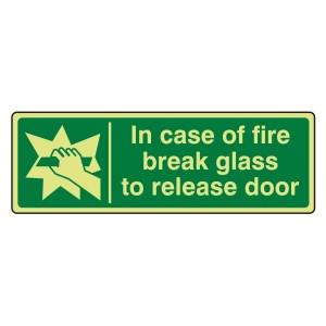 Photoluminescent In Case Of Fire Break Glass To Release Door Sign (Landscape)