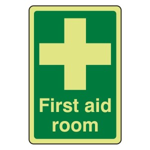 Photoluminescent First Aid Room Sign