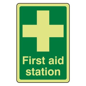 Photoluminescent First Aid Station Sign
