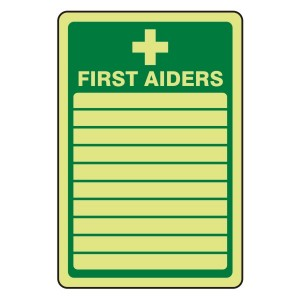 Photoluminescent First Aiders Sign