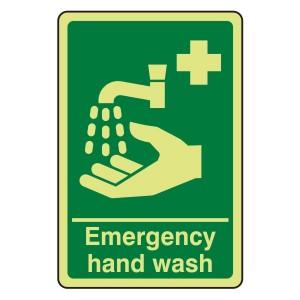 Photoluminescent Emergency Hand Wash Sign