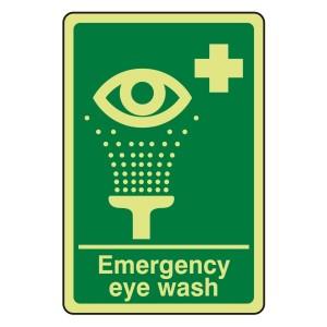 Photoluminescent Emergency Eye Wash Sign