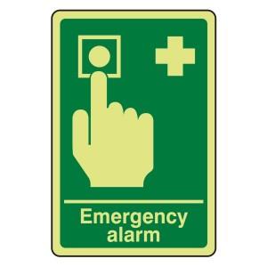 Photoluminescent Emergency Alarm Sign