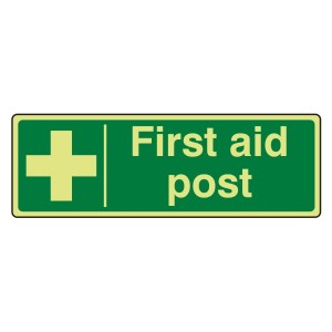 Photoluminescent First Aid Post Sign (Landscape)