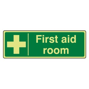 Photoluminescent First Aid Room Sign (Landscape)