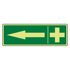 Photoluminescent First Aid Arrow Left Sign