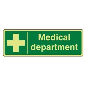 Photoluminescent Medical Department Sign (Landscape)