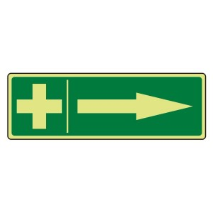 Photoluminescent First Aid Arrow Right Sign
