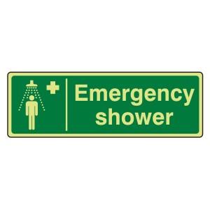 Photoluminescent Emergency Shower Sign (Landscape)