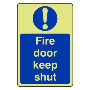 Photoluminescent Fire Door Keep Shut Sign (Portrait)