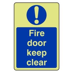 Photoluminescent Fire Door Keep Clear Sign (Portrait)