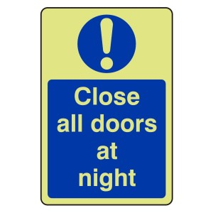 Photoluminescent Close All Doors At Night Sign (Portrait)