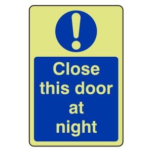 Photoluminescent Close This Door At Night Sign (Portrait)