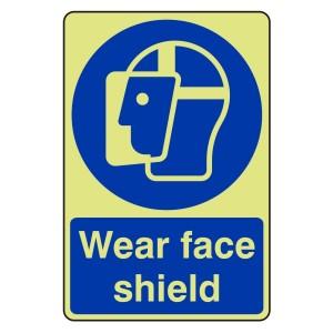 Photoluminescent Wear Face Shield Sign