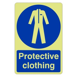 Photoluminescent Protective Clothing Sign