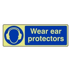 Photoluminescent Wear Ear Protectors Sign (Landscape)