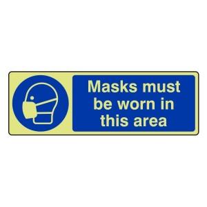 Photoluminescent Masks Must Be Worn Sign (Landscape)