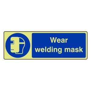 Photoluminescent Wear Welding Mask Sign (Landscape)