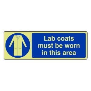 Photoluminescent Lab Coats Must Be Worn Sign (Landscape)