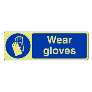 Photoluminescent Wear Gloves Sign (Landscape)