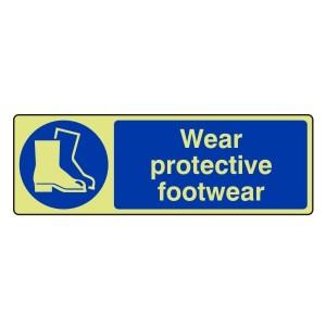 Photoluminescent Wear Protective Footwear Sign (Landscape)