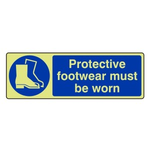 Photoluminescent Protective Footwear Must Be Worn Sign (Landscape)