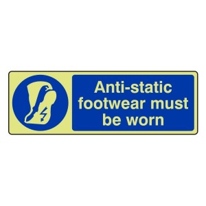 Photoluminescent Anti-Static Footwear Must Be Worn Sign (Landscape)