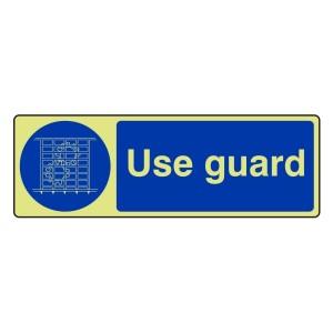 Photoluminescent Use Guard Sign (Landscape)
