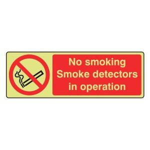 Photoluminescent No Smoking Smoke Detectors Sign (Landscape)