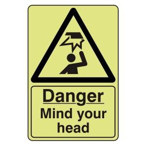 Photoluminescent Danger Mind Your Head Sign