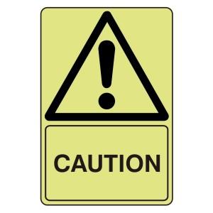 Photoluminescent Caution Sign