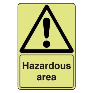 Photoluminescent Hazardous Area Sign