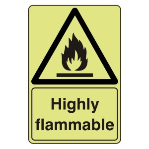 Photoluminescent Highly Flammable Sign