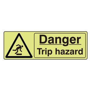 Photoluminescent Danger Trip Hazard Sign (Landscape)