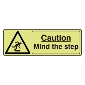 Photoluminescent Caution Mind The Step Sign (Landscape)