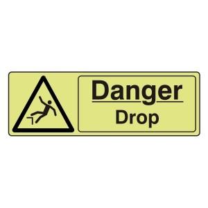 Photoluminescent Danger Drop Sign (Landscape)