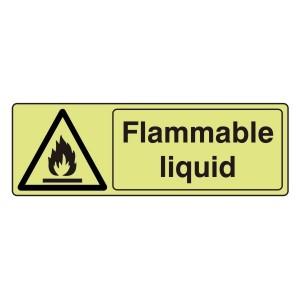 Photoluminescent Flammable Liquid Sign (Landscape)