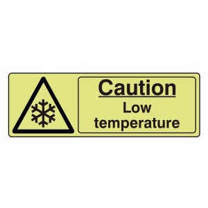 Photoluminescent Caution Low Temperature Sign (Landscape)